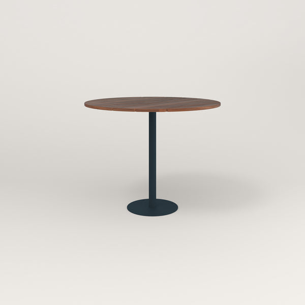 RAD Cafe Table, Round Bolt Down Base in slatted wood and navy powder coat.