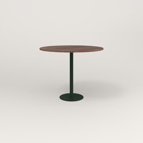 RAD Cafe Table, Round Bolt Down Base in slatted wood and fir green powder coat.