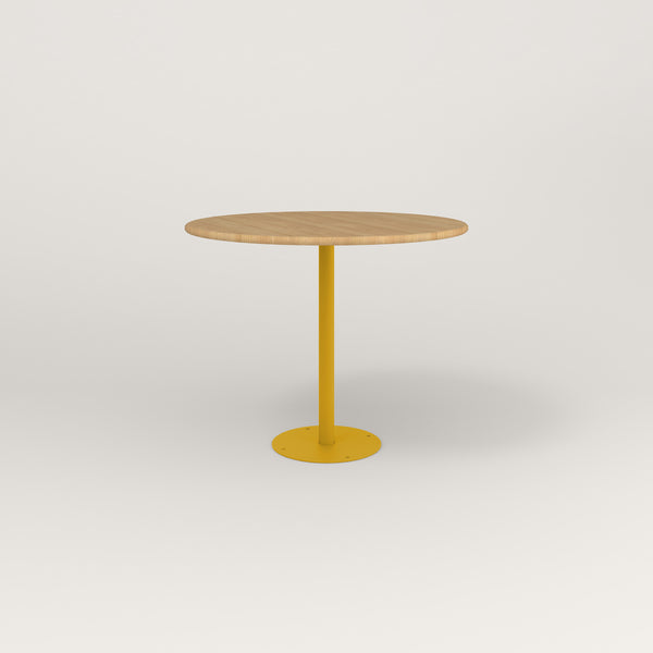 RAD Cafe Table, Round Bolt Down Base in solid white oak and yellow powder coat.