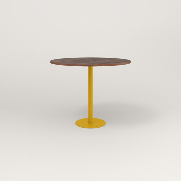 RAD Cafe Table, Round Bolt Down Base in slatted wood and yellow powder coat.