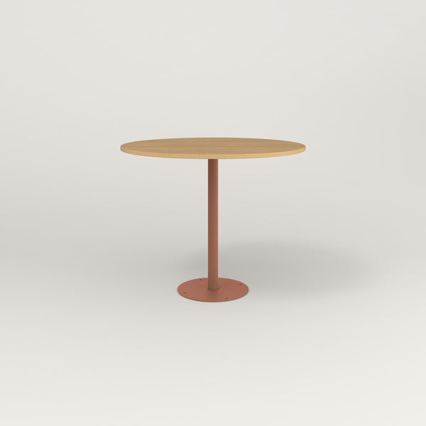 RAD Cafe Table, Round Bolt Down Base in white oak europly and coral powder coat.