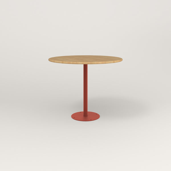 RAD Cafe Table, Round Bolt Down Base in solid white oak and red powder coat.