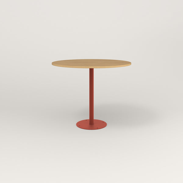 RAD Cafe Table, Round Bolt Down Base in white oak europly and red powder coat.