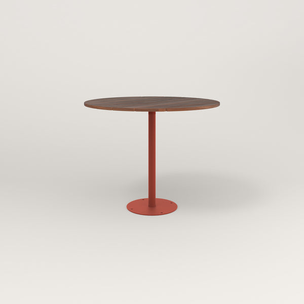 RAD Cafe Table, Round Bolt Down Base in slatted wood and red powder coat.