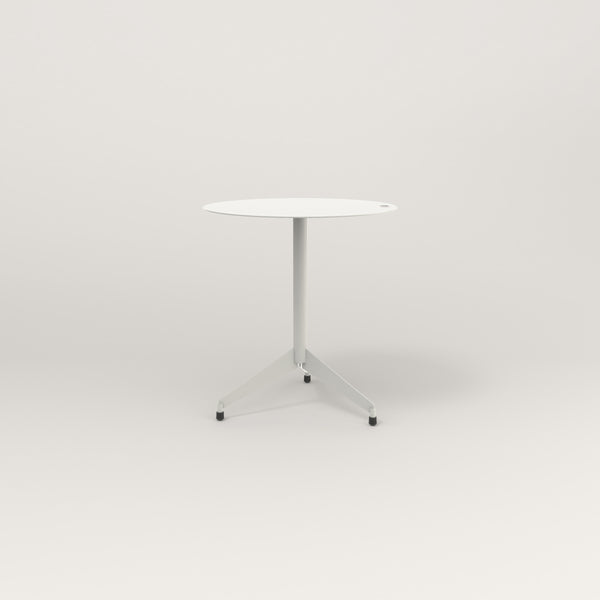 RAD Cafe Table, Round Flat Tripod Base in aluminum and white powder coat.