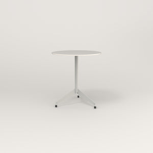 RAD Cafe Table, Round Flat Tripod Base in acrylic and white powder coat.