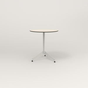 RAD Cafe Table, Round Flat Tripod Base in hpl and white powder coat.