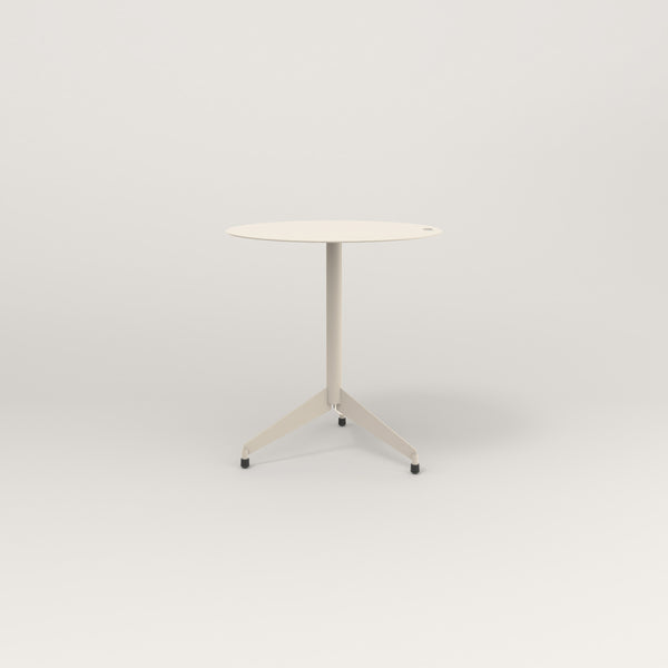 RAD Cafe Table, Round Flat Tripod Base in aluminum and off-white powder coat.