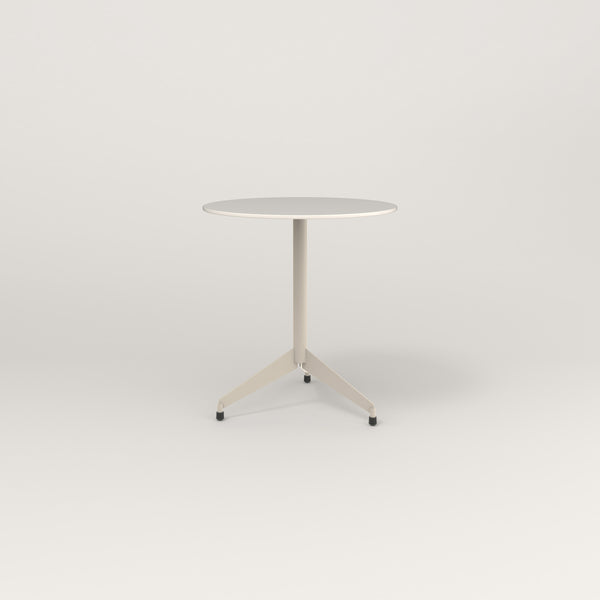 RAD Cafe Table, Round Flat Tripod Base in acrylic and off-white powder coat.