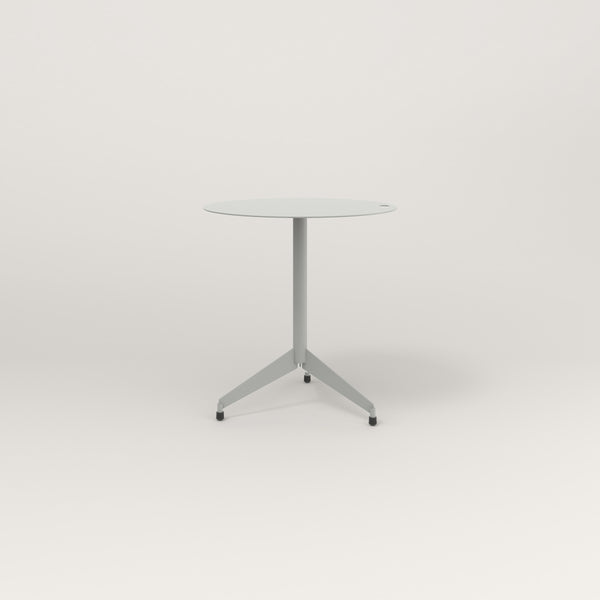 RAD Cafe Table, Round Flat Tripod Base in aluminum and grey powder coat.