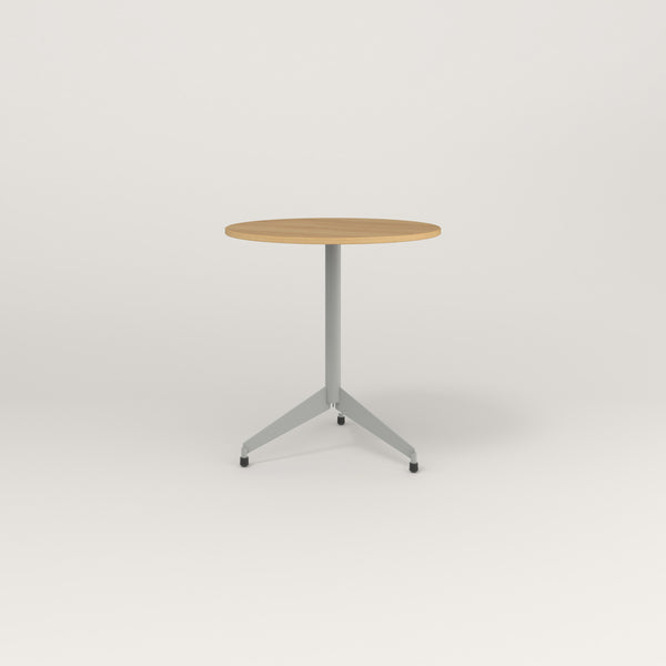 RAD Cafe Table, Round Flat Tripod Base in white oak europly and grey powder coat.