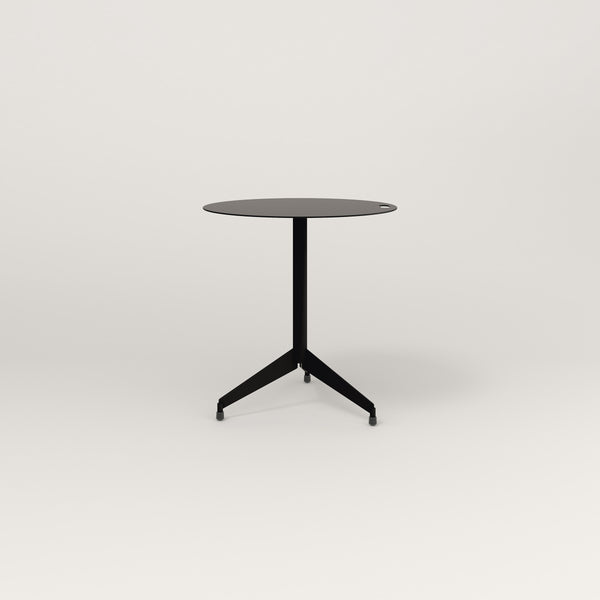 RAD Cafe Table, Round Flat Tripod Base in aluminum and black powder coat.