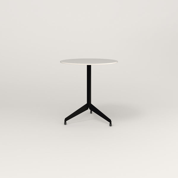 RAD Cafe Table, Round Flat Tripod Base in acrylic and black powder coat.