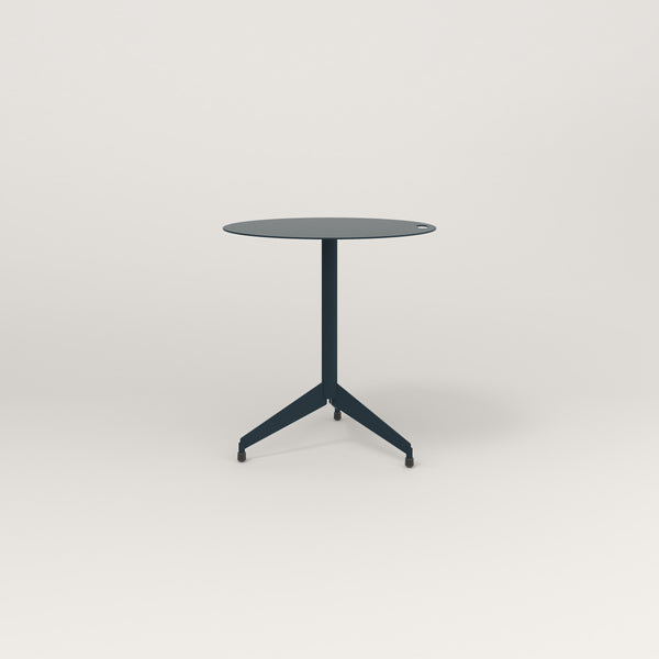 RAD Cafe Table, Round Flat Tripod Base in aluminum and navy powder coat.
