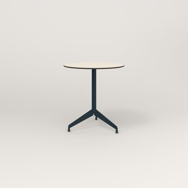 RAD Cafe Table, Round Flat Tripod Base in hpl and navy powder coat.