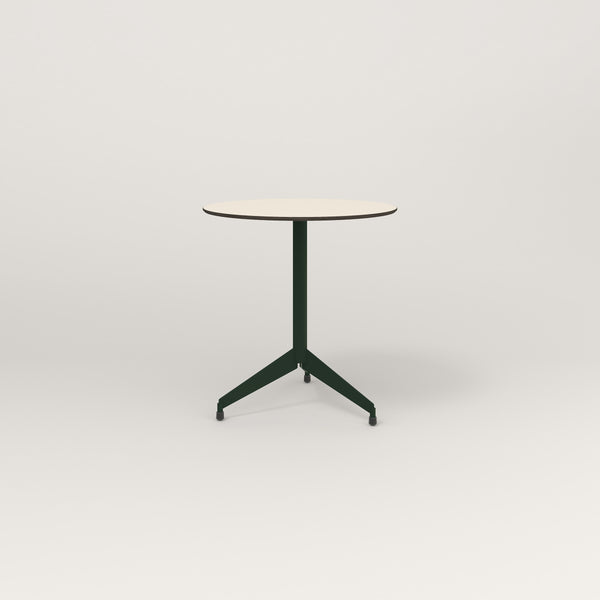 RAD Cafe Table, Round Flat Tripod Base in hpl and fir green powder coat.
