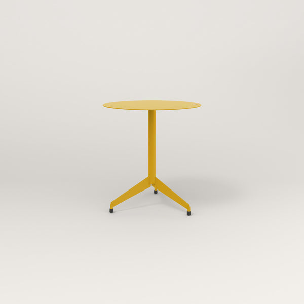 RAD Cafe Table, Round Flat Tripod Base in aluminum and yellow powder coat.