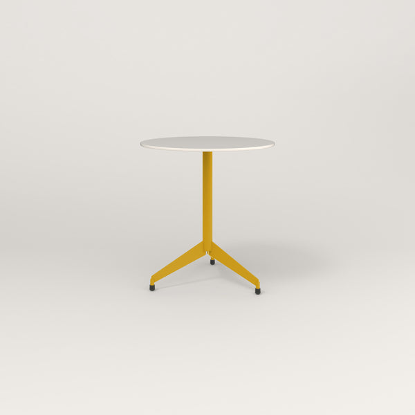 RAD Cafe Table, Round Flat Tripod Base in acrylic and yellow powder coat.