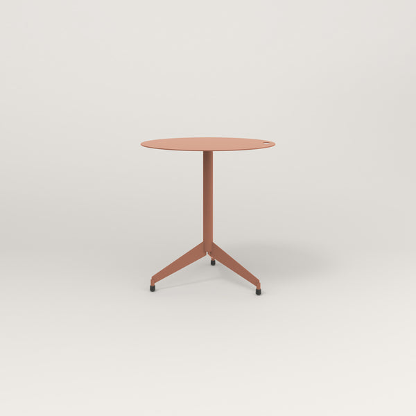 RAD Cafe Table, Round Flat Tripod Base in aluminum and coral powder coat.