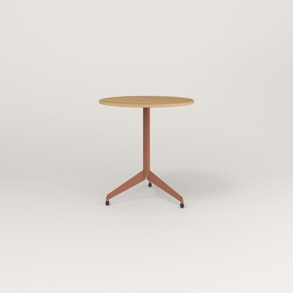 RAD Cafe Table, Round Flat Tripod Base in white oak europly and coral powder coat.