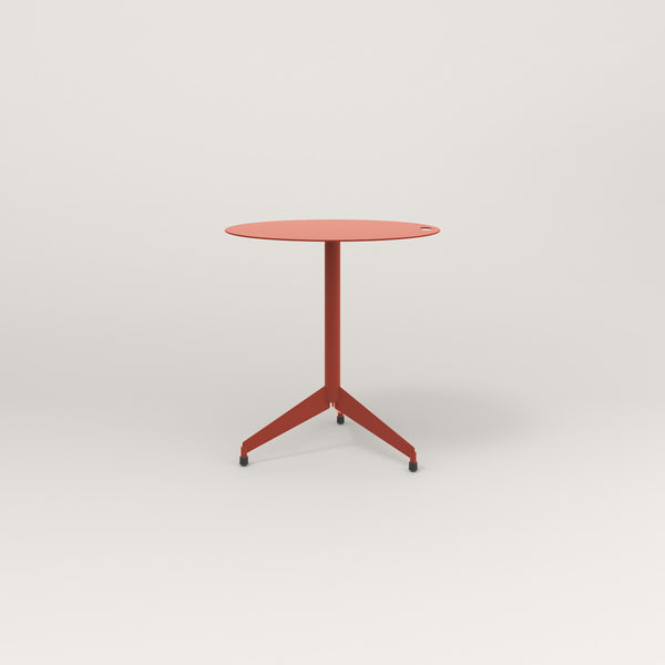RAD Cafe Table, Round Flat Tripod Base in aluminum and red powder coat.