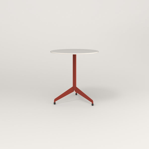 RAD Cafe Table, Round Flat Tripod Base in acrylic and red powder coat.