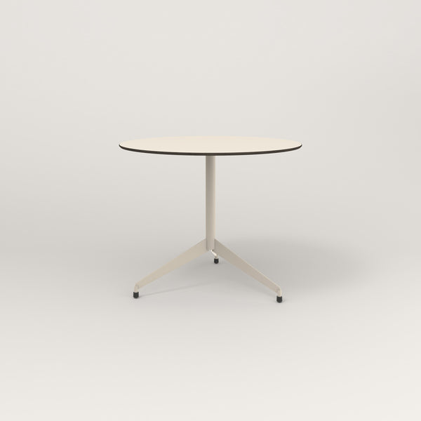 RAD Cafe Table, Round Flat Tripod Base in hpl and off-white powder coat.