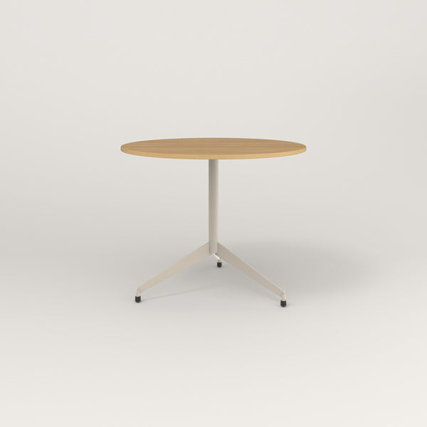RAD Cafe Table, Round Flat Tripod Base in white oak europly and off-white powder coat.