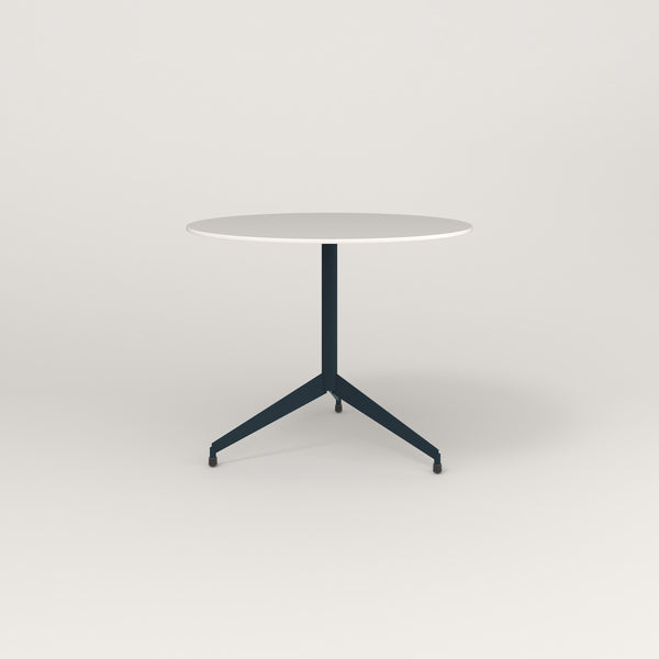 RAD Cafe Table, Round Flat Tripod Base in acrylic and navy powder coat.