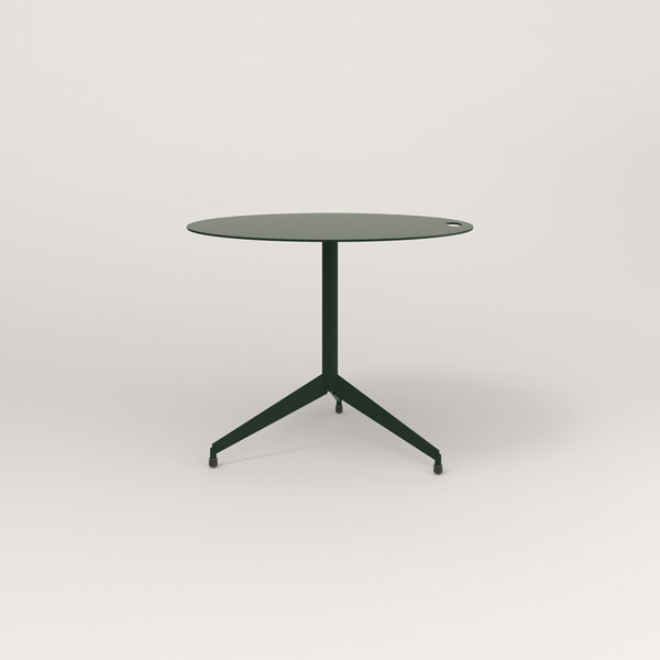 RAD Cafe Table, Round Flat Tripod Base in aluminum and fir green powder coat.