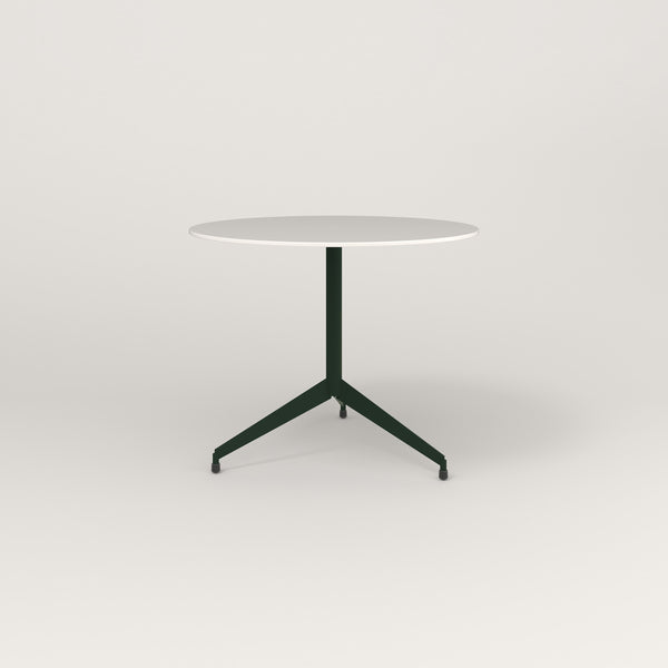 RAD Cafe Table, Round Flat Tripod Base in acrylic and fir green powder coat.