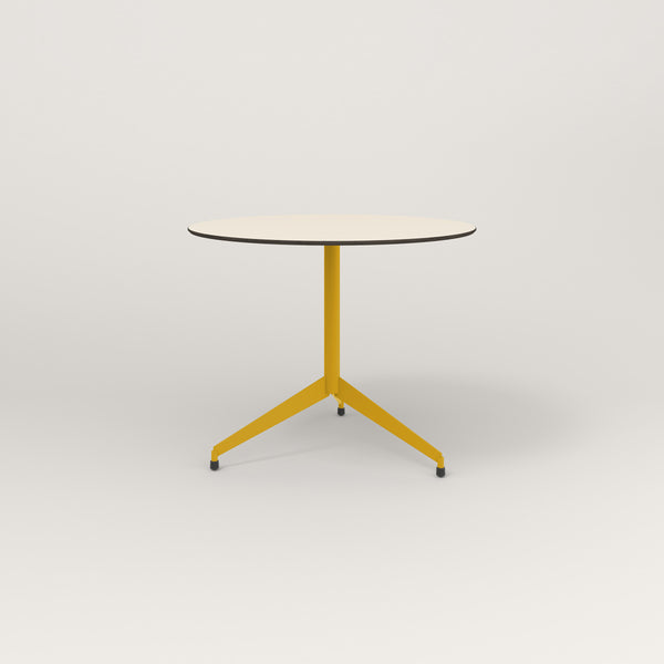 RAD Cafe Table, Round Flat Tripod Base in hpl and yellow powder coat.