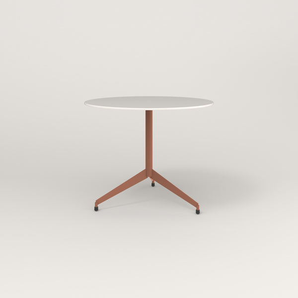 RAD Cafe Table, Round Flat Tripod Base in acrylic and coral powder coat.