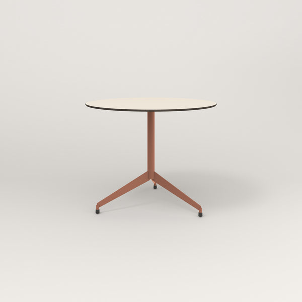 RAD Cafe Table, Round Flat Tripod Base in hpl and coral powder coat.