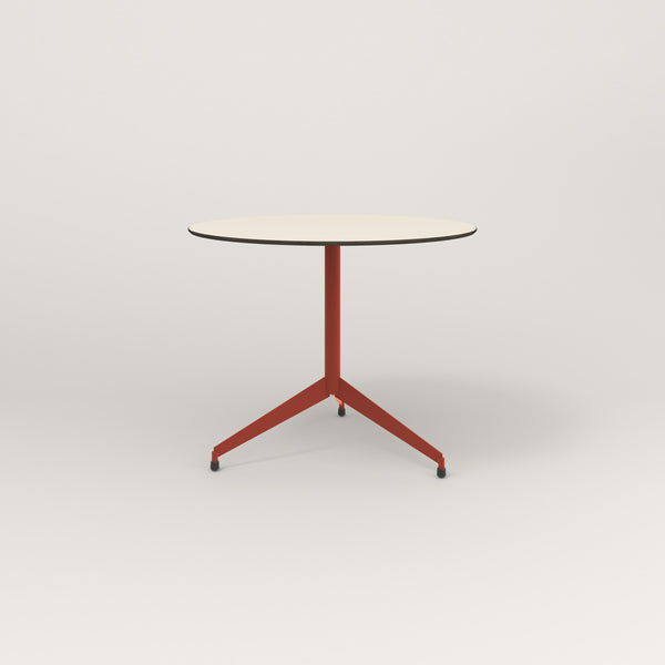 RAD Cafe Table, Round Flat Tripod Base in hpl and red powder coat.