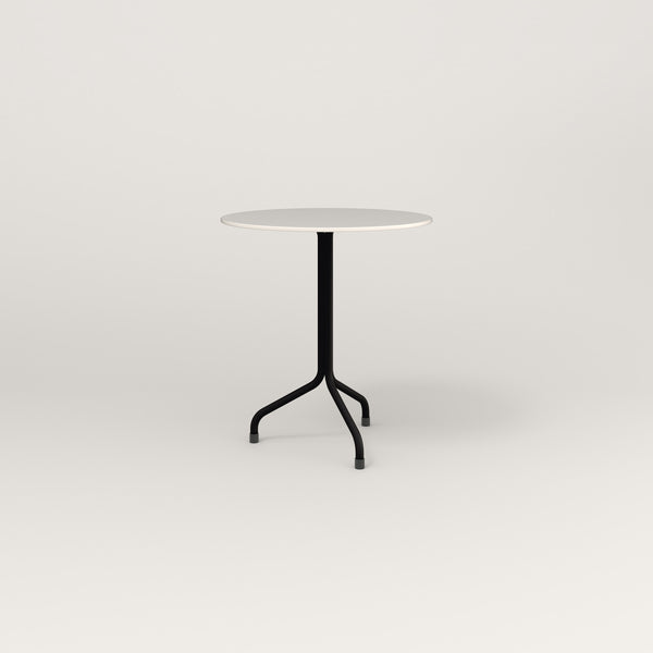RAD Cafe Table, Round Tube Tripod Base in acrylic and black powder coat.