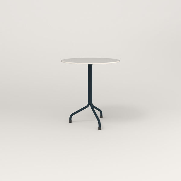 RAD Cafe Table, Round Tube Tripod Base in acrylic and navy powder coat.
