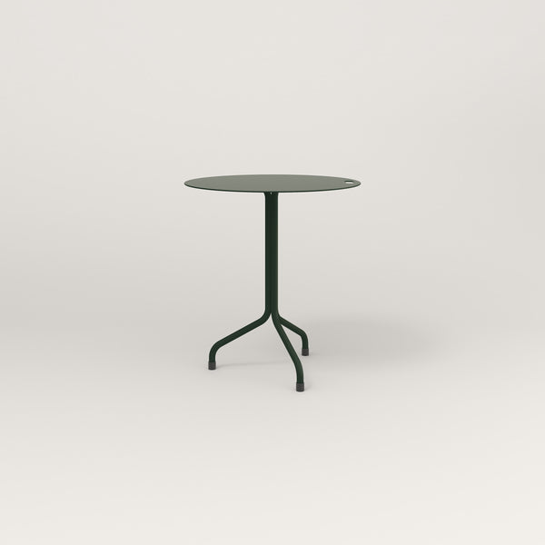RAD Cafe Table, Round Tube Tripod Base in aluminum and fir green powder coat.
