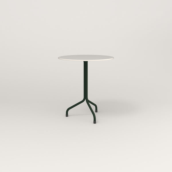 RAD Cafe Table, Round Tube Tripod Base in acrylic and fir green powder coat.
