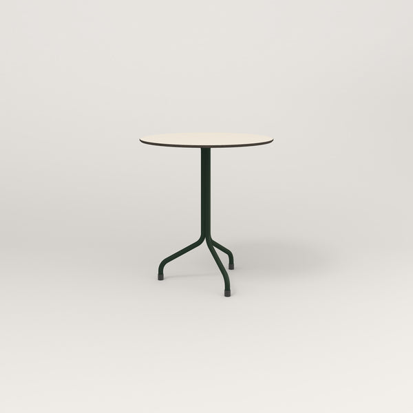 RAD Cafe Table, Round Tube Tripod Base in hpl and fir green powder coat.