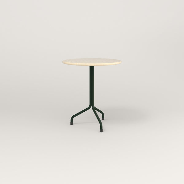 RAD Cafe Table, Round Tube Tripod Base in solid ash and fir green powder coat.