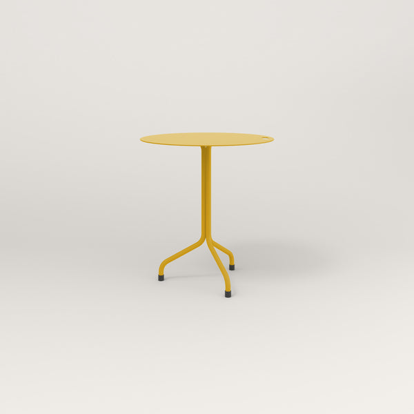 RAD Cafe Table, Round Tube Tripod Base in aluminum and yellow powder coat.