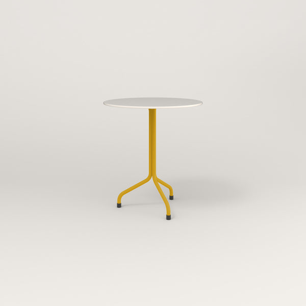 RAD Cafe Table, Round Tube Tripod Base in acrylic and yellow powder coat.