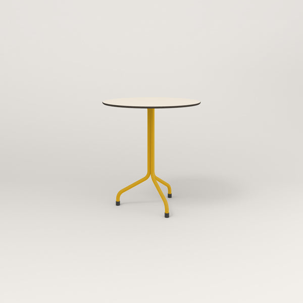 RAD Cafe Table, Round Tube Tripod Base in hpl and yellow powder coat.
