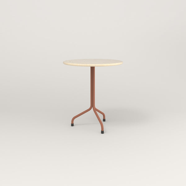 RAD Cafe Table, Round Tube Tripod Base in solid ash and coral powder coat.