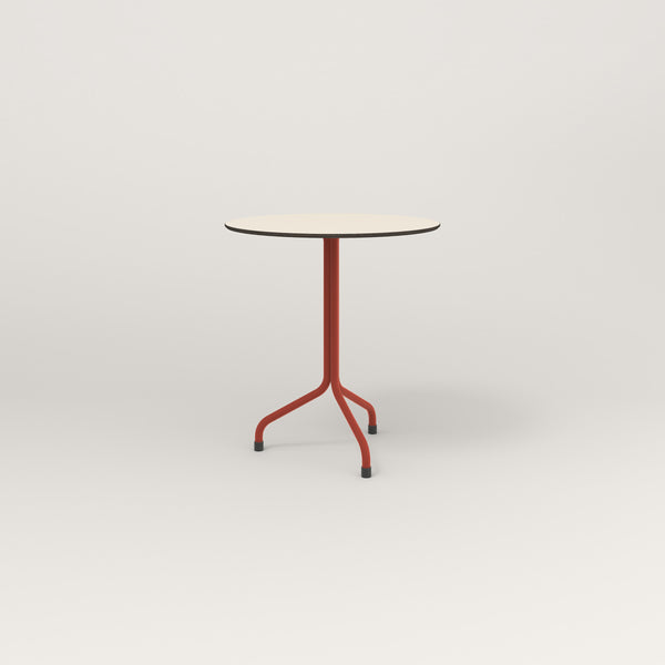RAD Cafe Table, Round Tube Tripod Base in hpl and red powder coat.