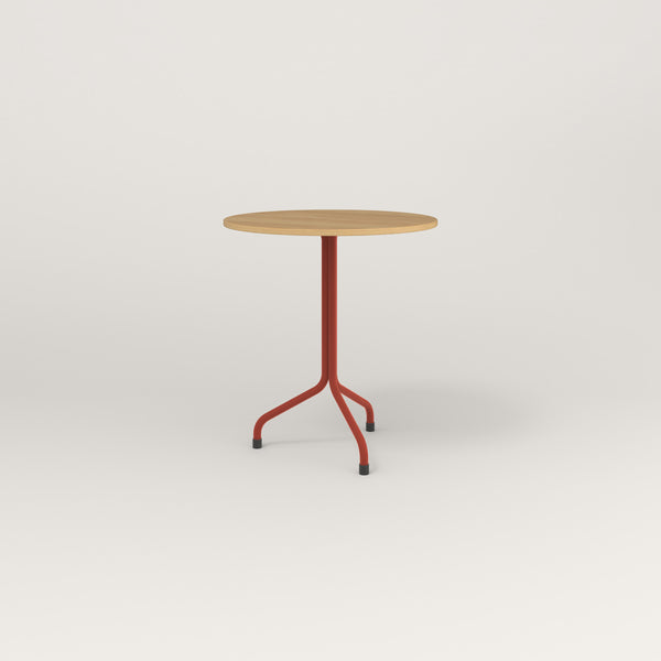 RAD Cafe Table, Round Tube Tripod Base in white oak europly and red powder coat.