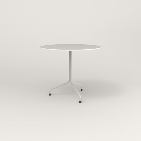 RAD Cafe Table, Round Tube Tripod Base in acrylic and white powder coat.