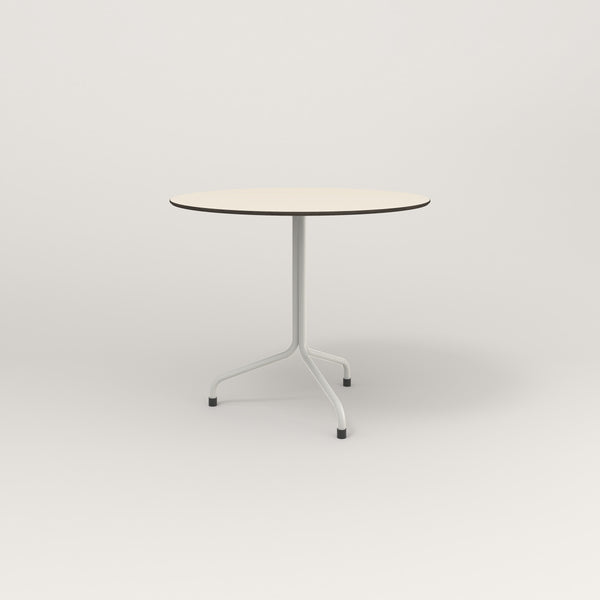 RAD Cafe Table, Round Tube Tripod Base in hpl and white powder coat.