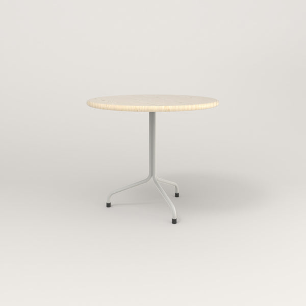 RAD Cafe Table, Round Tube Tripod Base in solid ash and white powder coat.